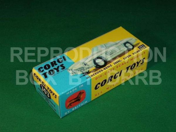 "Corgi #303 Mercedes 300 SL - Reproduction Box ( Open Roadster ) ""THE NO SUSPENSION VERSION"""